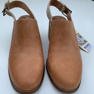 TOMS Leila Leather Slingback Mule, Honey, 8.5, NWT
